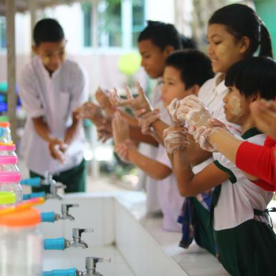 Children in one of our placements learning how to wash their hands to avoid the spread of diseases.